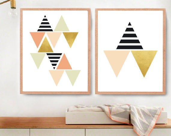 Best ideas about Geometric Wall Art . Save or Pin Geometric Wall Art Black White and Gold Room Decor Modern Now.