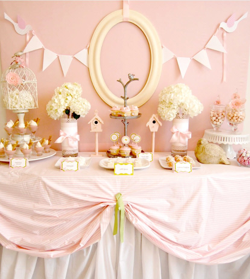 Best ideas about Girl Baby Shower Table Decorations . Save or Pin Pink Bir Baby Shower guest feature Celebrations at Home Now.