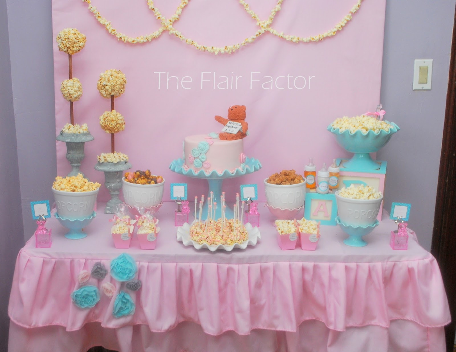 Best ideas about Girl Baby Shower Table Decorations . Save or Pin Fête Fanatic Baby Shower Popcorn Buffet Now.
