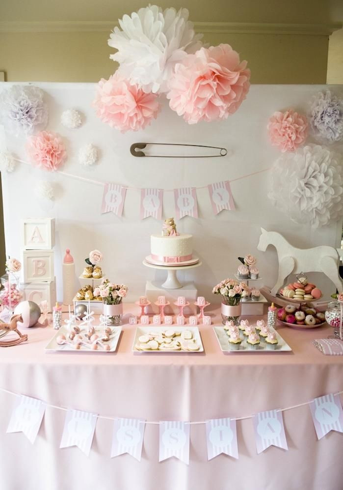 Best ideas about Girl Baby Shower Table Decorations . Save or Pin Gorgeous Girl Themed Baby Shower Dessert Sweets Table Now.