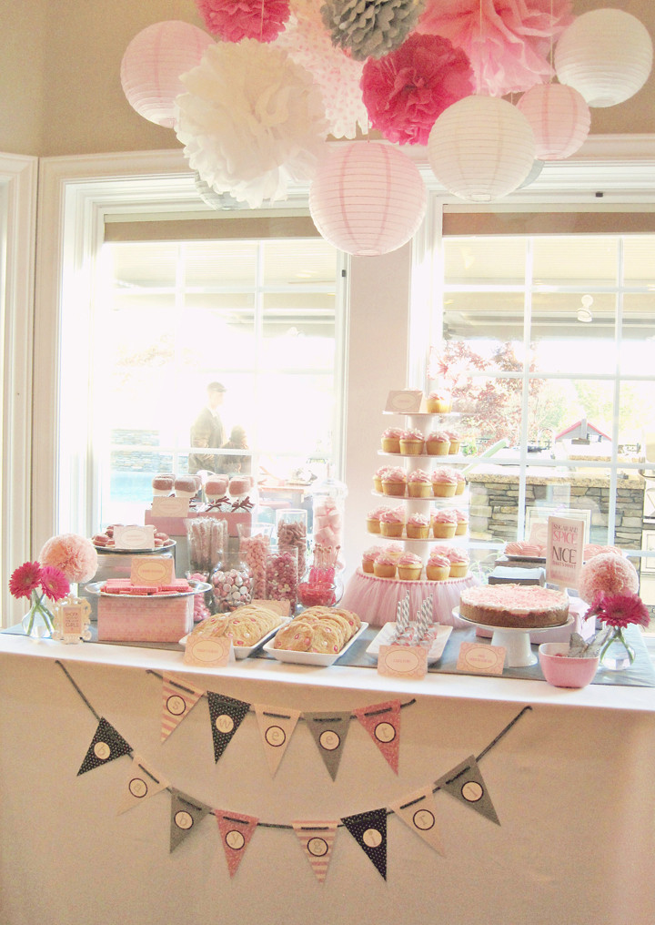 Best ideas about Girl Baby Shower Table Decorations . Save or Pin Seriously Daisies Pink & Gray Baby Shower Sweets Table Now.