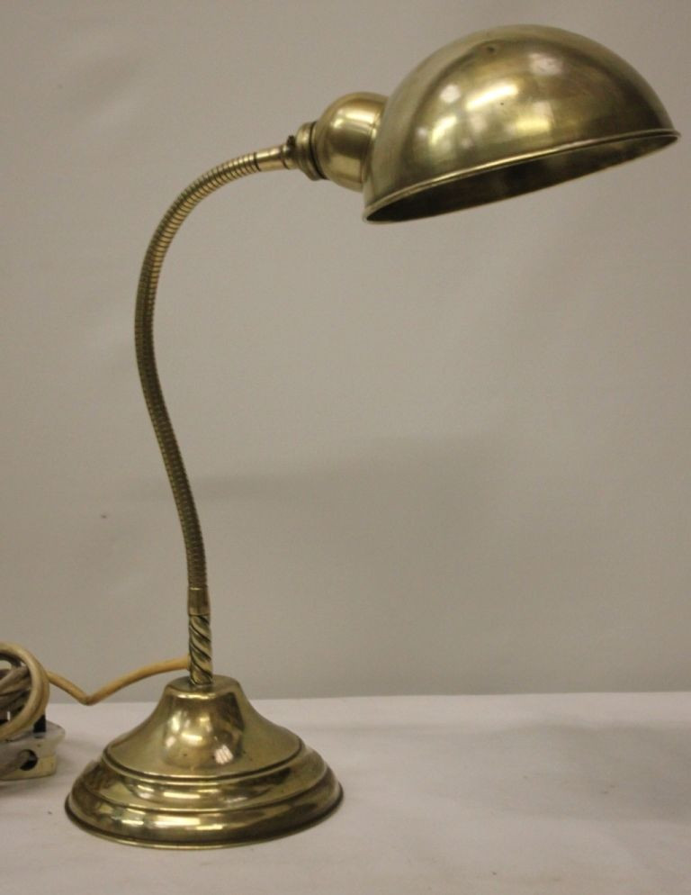 Best ideas about Gooseneck Desk Lamp . Save or Pin Vintage Industrial Brass Gooseneck Bankers Desk Lamp TL Now.