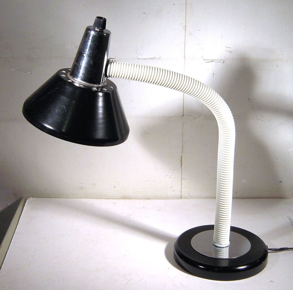 Best ideas about Gooseneck Desk Lamp . Save or Pin VINTAGE DESK LAMP MID CENTURY MODERN BLACK CHROME WHITE Now.