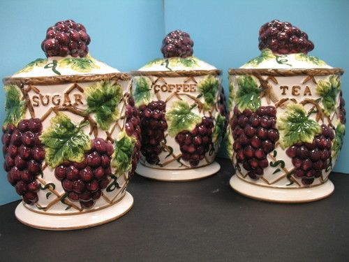 Best ideas about Grape Kitchen Decor . Save or Pin 3 Pc 3D Grape Canisters For Kitchen Now.