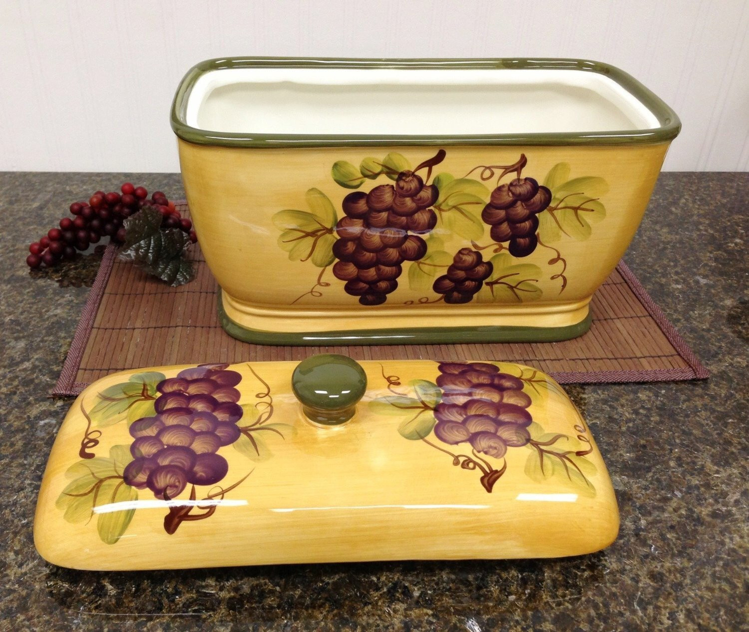 Best ideas about Grape Kitchen Decor . Save or Pin Kitchen Decor Grape Desing Tuscany Wine Bread Canister Box Now.
