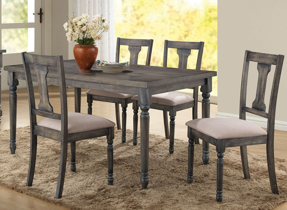 Best ideas about Gray Dining Table . Save or Pin Olivia Weathered Grey Finish Table Set Now.