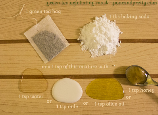 Best ideas about Green Tea Face Mask DIY . Save or Pin Poor & Pretty – DIY Beauty Green tea exfoliating mask Now.