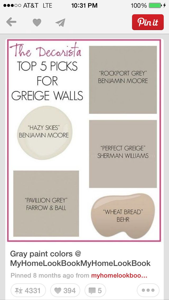 Best ideas about Greige Paint Colors . Save or Pin 1000 images about Greige on Pinterest Now.