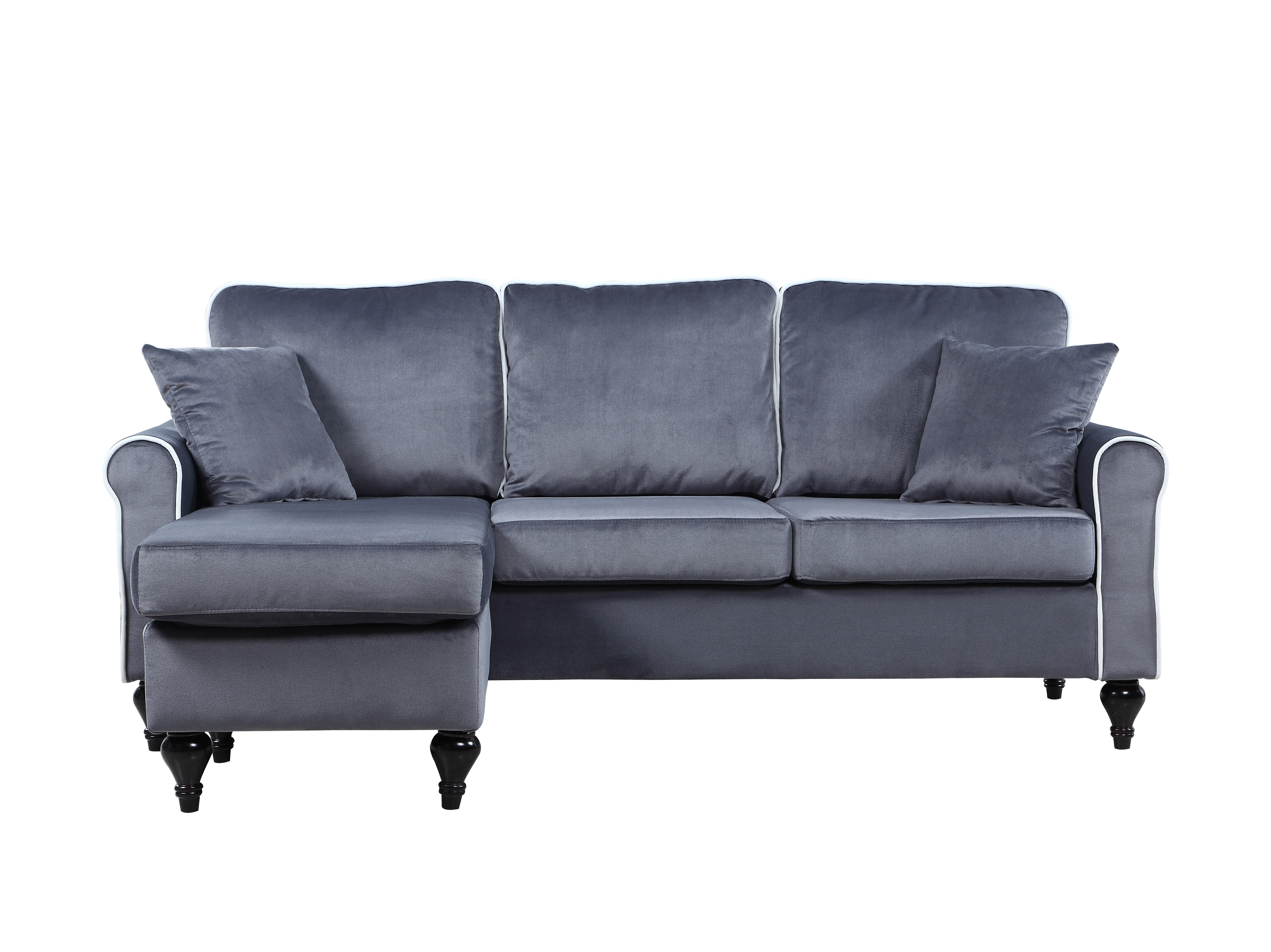 Best ideas about Grey Sectional Sofa With Chaise . Save or Pin Traditional Small Space Grey Velvet Sectional Sofa with Now.