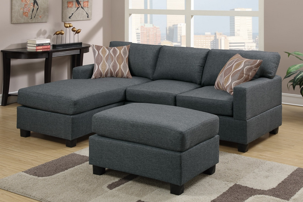 Best ideas about Grey Sectional Sofa With Chaise . Save or Pin Blue Grey Fabric Reversible Chaise Sectional Sofa With Ottoman Now.