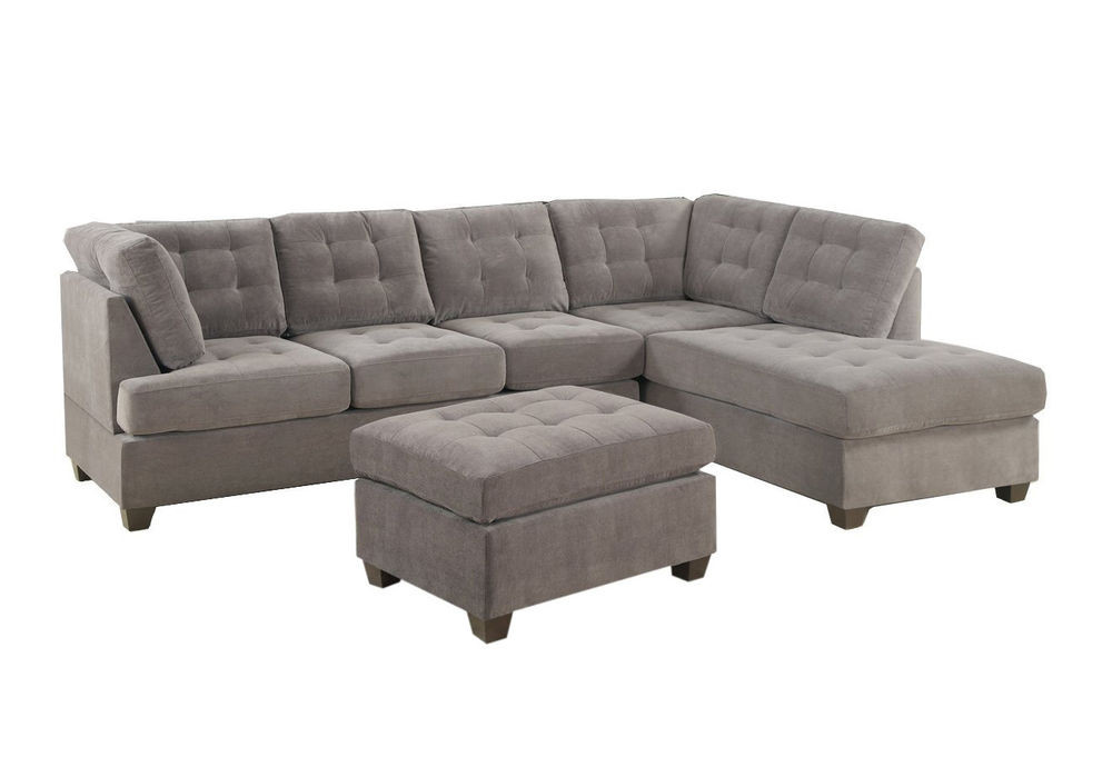 Best ideas about Grey Sectional Sofa With Chaise . Save or Pin Contemporary 3PC Grey Sectional Sofa Microsuede Reversible Now.