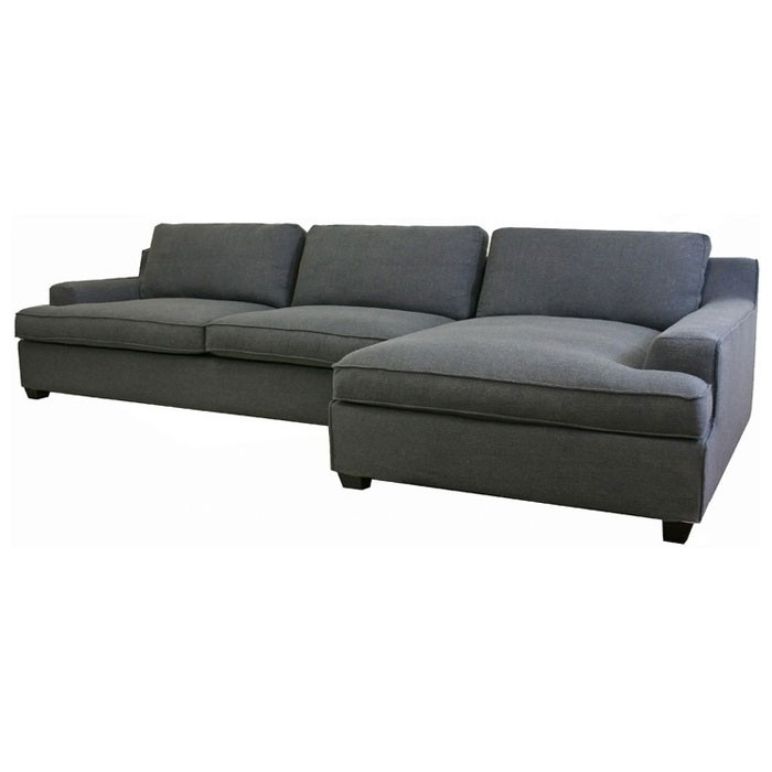 Best ideas about Grey Sectional Sofa With Chaise . Save or Pin Kaspar Slate Grey Fabric Sectional with Chaise Now.