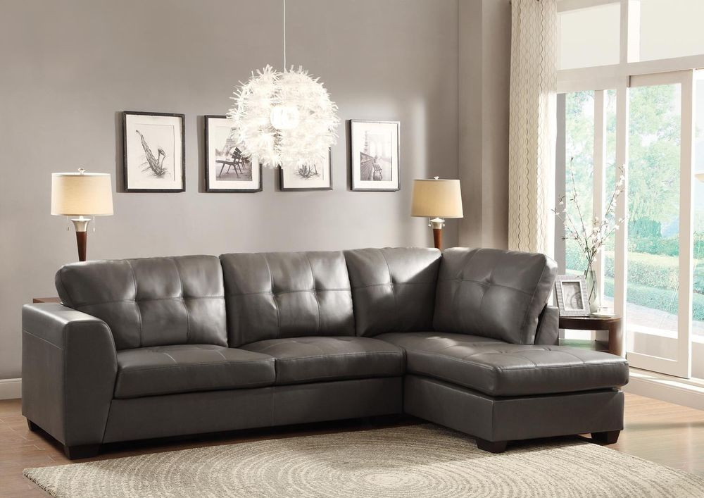Best ideas about Grey Sectional Sofa With Chaise . Save or Pin LUXURIOUS LEATHER GRAY GREY SOFA CHAISE SECTIONAL LIVING Now.