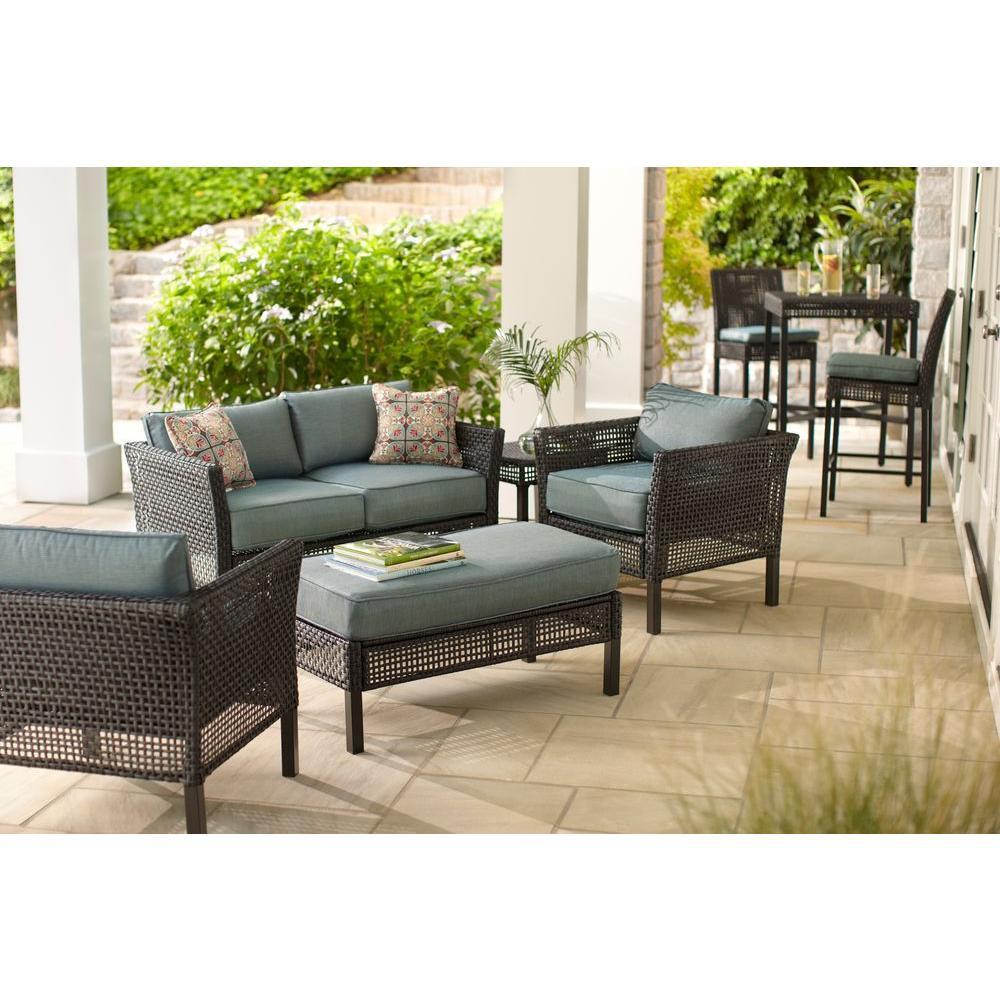 Best ideas about Hampton Bay Patio Cushions . Save or Pin Hampton Bay Fenton 4 Piece Wicker Outdoor Patio Seating Now.