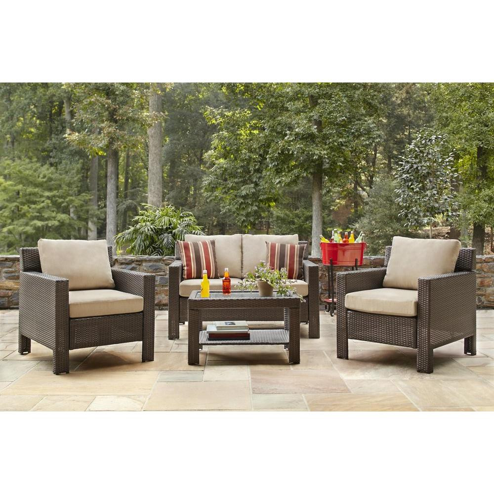 Best ideas about Hampton Bay Patio Cushions . Save or Pin Hampton Bay Beverly 4 Piece Patio Deep Seating Set with Now.
