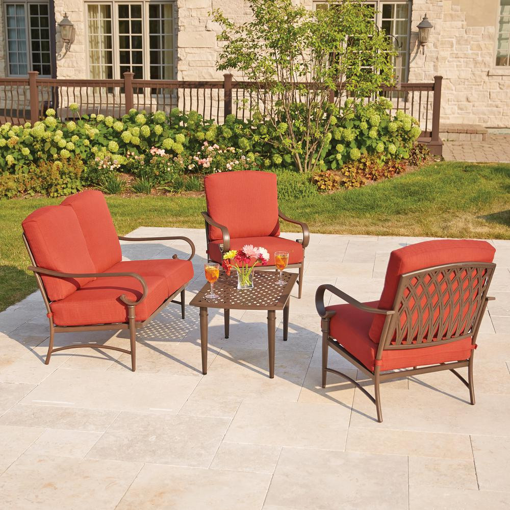 Best ideas about Hampton Bay Patio Cushions . Save or Pin Hampton Bay Oak Cliff 4 Piece Metal Outdoor Deep Seating Now.