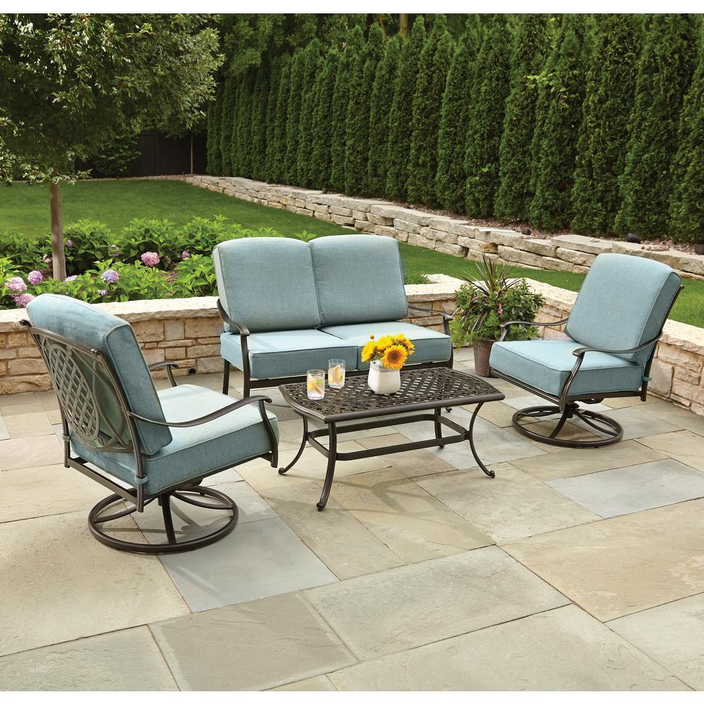 Best ideas about Hampton Bay Patio Cushions . Save or Pin Hampton Bay Belcourt 4 Piece Metal Patio Conversation Set Now.