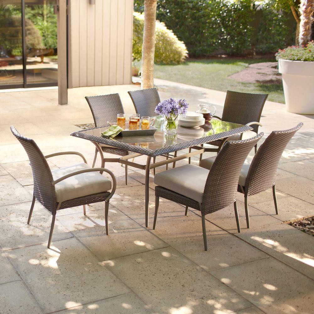 Best ideas about Hampton Bay Patio Cushions . Save or Pin Hampton Bay Posada 7 Piece Patio Dining Set with Gray Now.