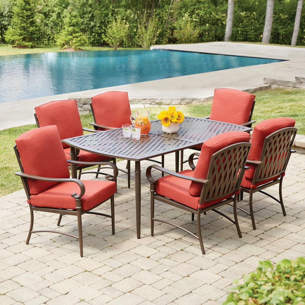 Best ideas about Hampton Bay Patio Cushions . Save or Pin Hampton Bay Oak Cliff 7 Piece Metal Outdoor Dining Set Now.