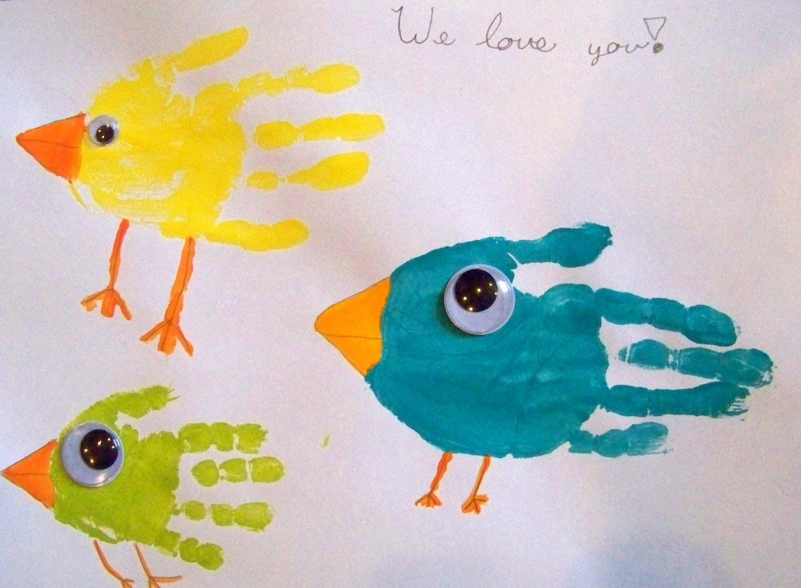 Best ideas about Hand Art For Kids . Save or Pin candice ashment art Birds Hand Print Art Now.