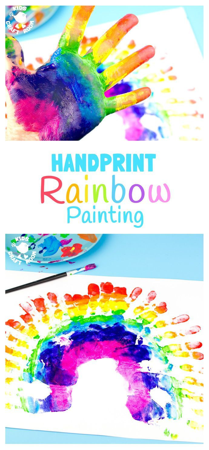 Best ideas about Hand Art For Kids . Save or Pin HANDPRINT RAINBOW PAINTING Now.