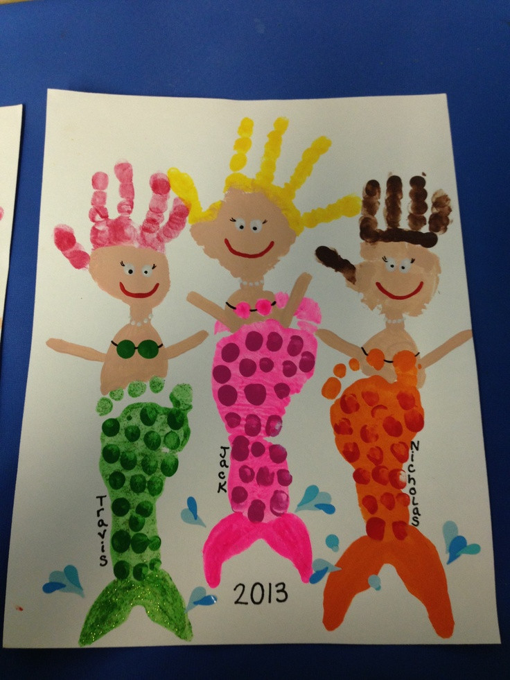 Best ideas about Handprint Crafts For Preschoolers . Save or Pin Footprint handprint mermaids Now.