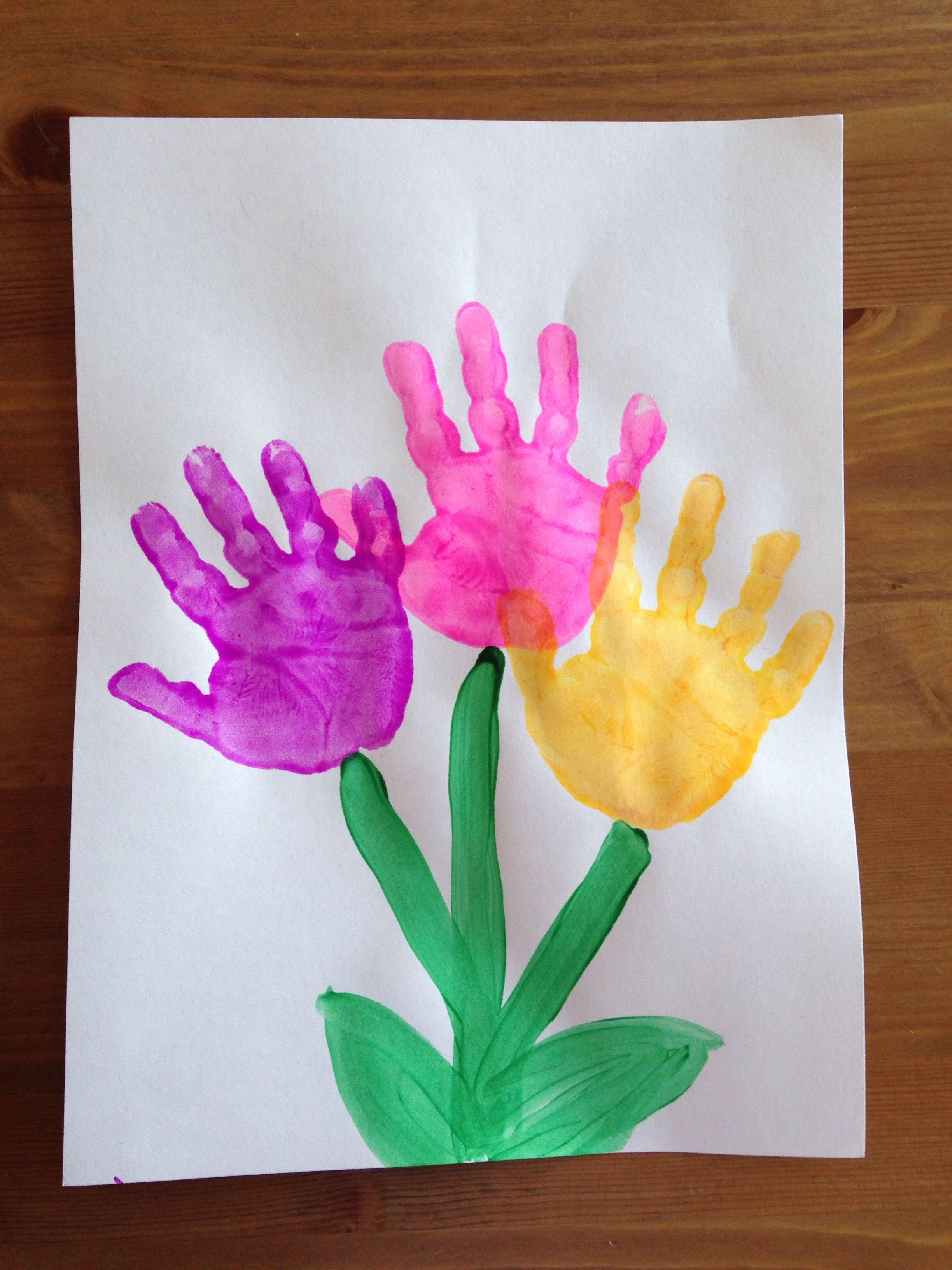 Best ideas about Handprint Crafts For Preschoolers . Save or Pin Handprint Flower Craft Spring Craft Preschool Craft Now.