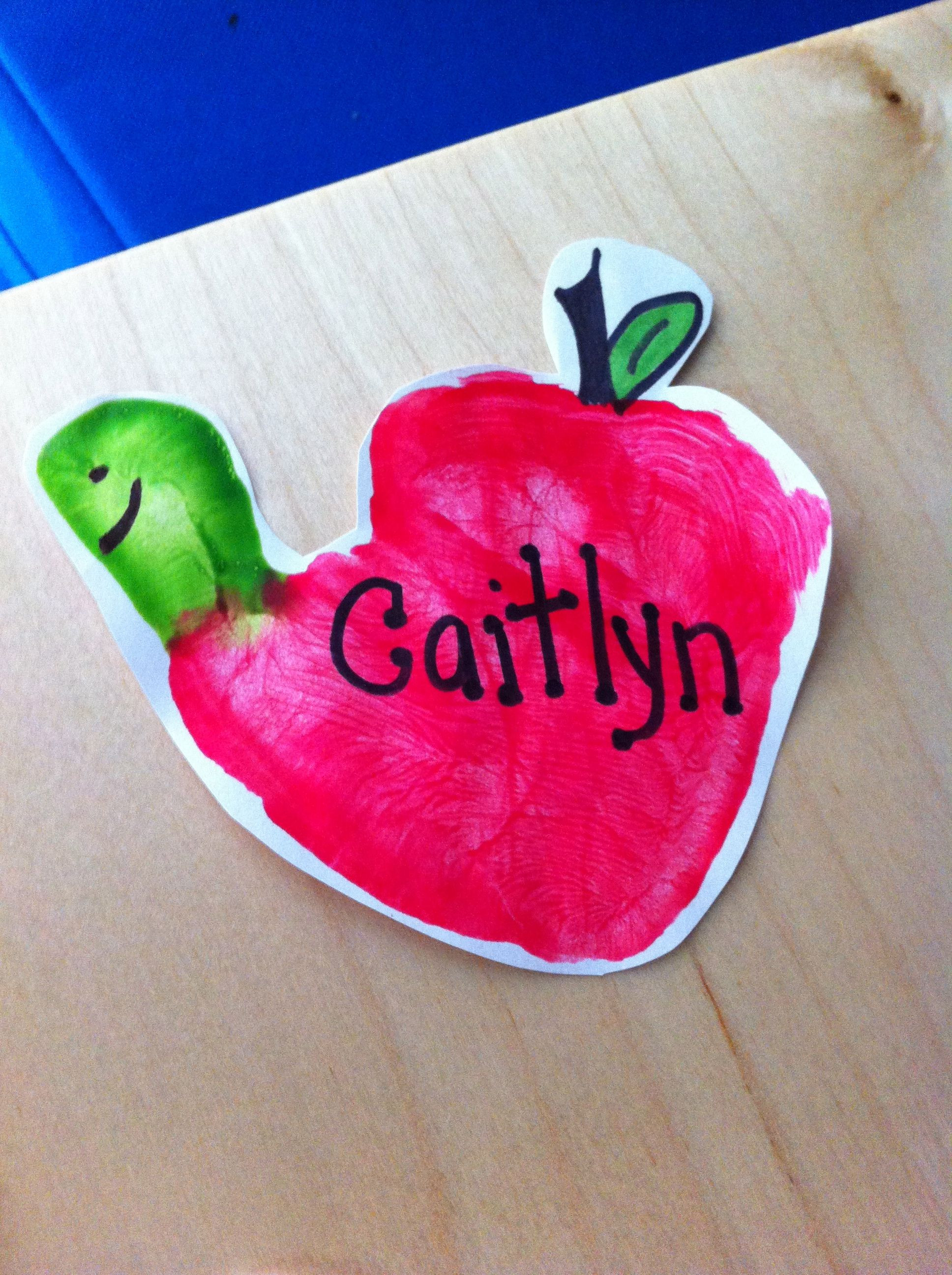 """Best ideas about Handprint Crafts For Preschoolers . Save or Pin Handprint """"Wormy Apples"""" My Classroom Pinterest Now."""