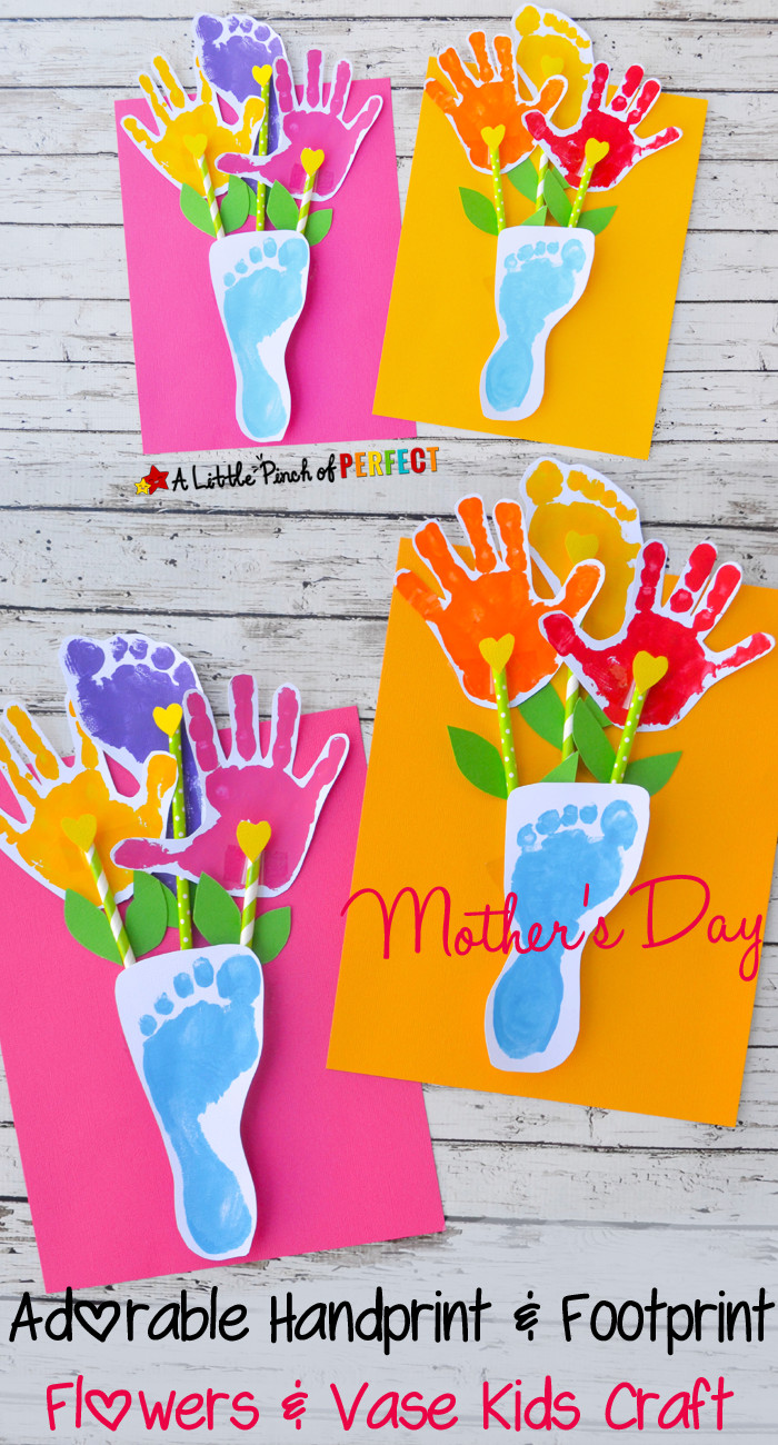 Best ideas about Handprint Crafts For Preschoolers . Save or Pin Handprint and Footprint Flowers and Vase Craft an Now.