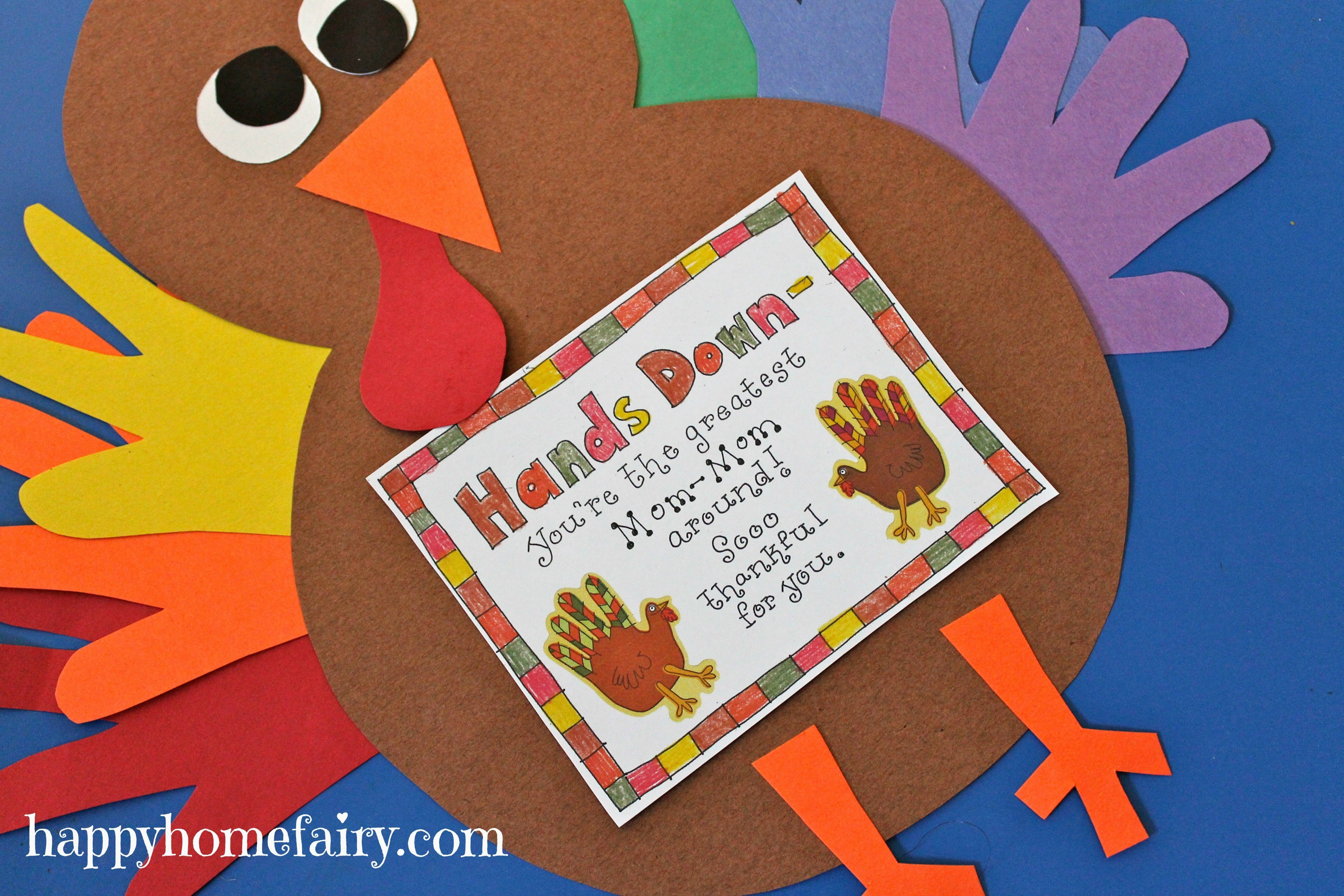 Best ideas about Handprint Crafts For Preschoolers . Save or Pin Thankful Handprint Turkey Craft FREE Printable Happy Now.