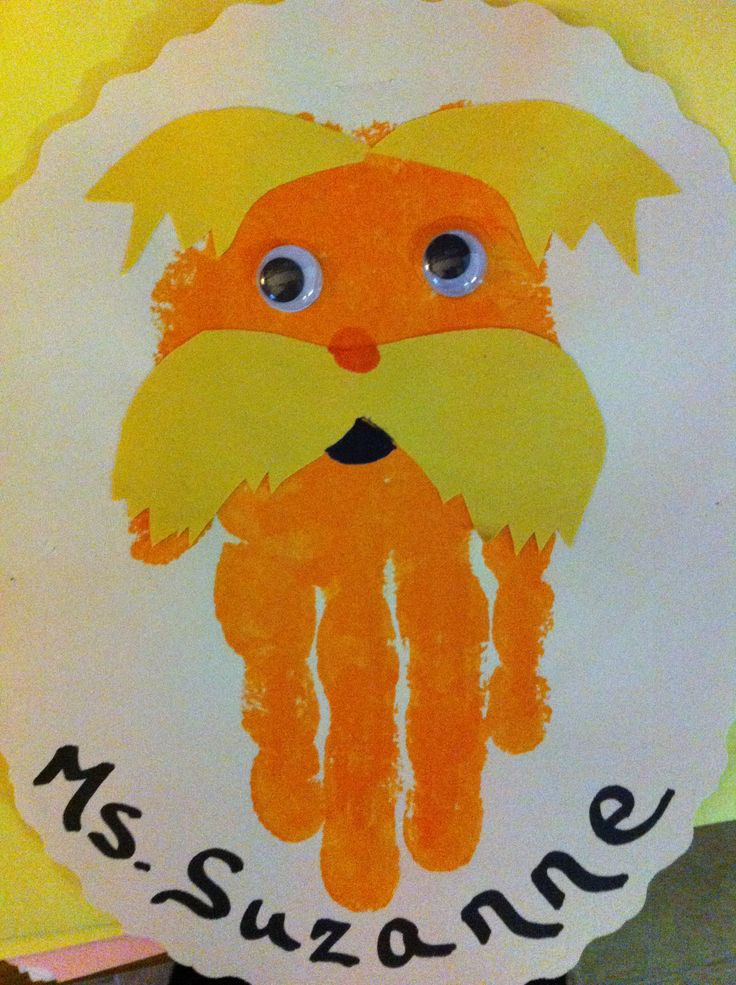 Best ideas about Handprint Crafts For Preschoolers . Save or Pin Lorax handprint craft for preschoolers Now.
