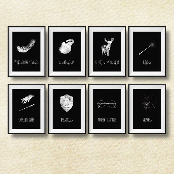 Best ideas about Harry Potter Wall Art . Save or Pin Set of 8 Harry Potter spells Print Harry Potter wall art Now.