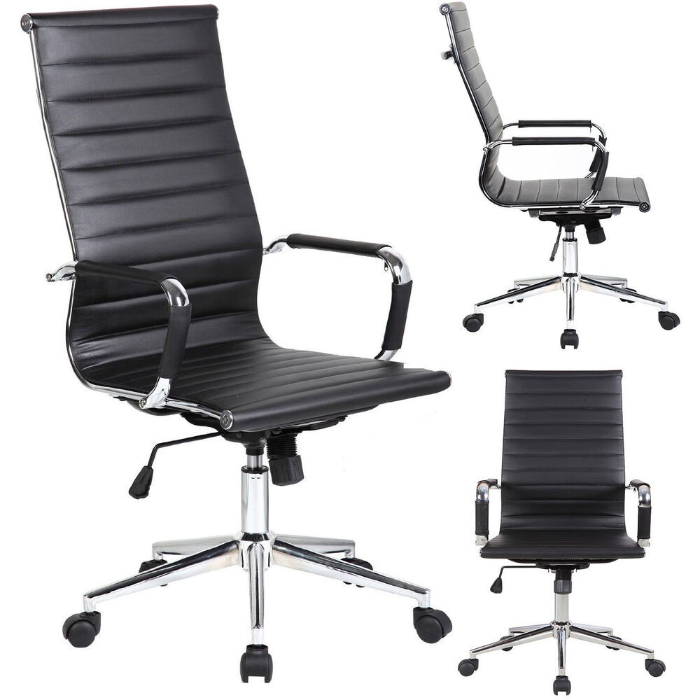Best ideas about High Office Chair . Save or Pin NEW Tall Executive Black PU Leather Ribbed fice Desk Now.
