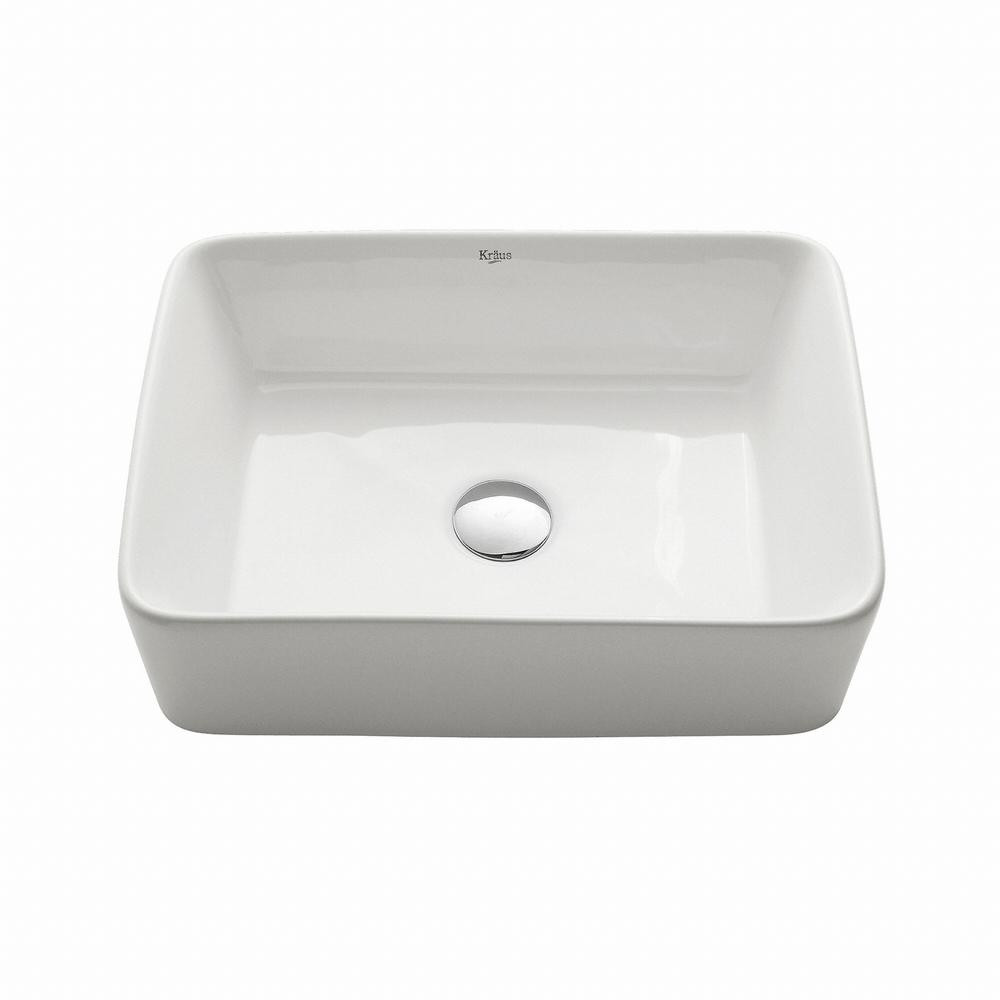 Best ideas about Home Depot Bathroom Sink . Save or Pin KRAUS Rectangular Ceramic Vessel Bathroom Sink in White Now.