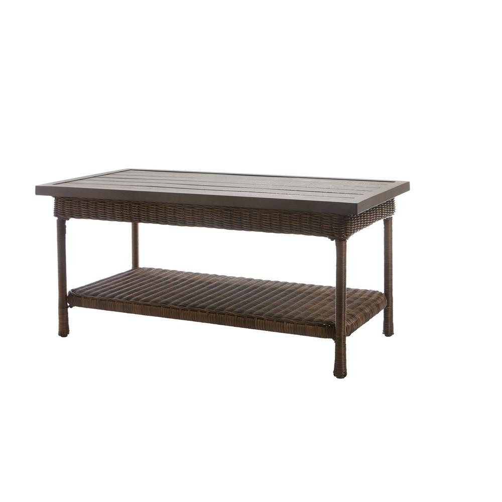 Best ideas about Home Depot Coffee Table . Save or Pin Hampton Bay Beacon Park Wicker Outdoor Coffee Table with Now.
