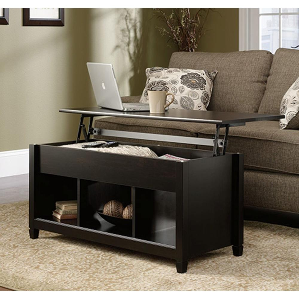 Best ideas about Home Depot Coffee Table . Save or Pin SAUDER Edge Water Estate Black Built In Storage Coffee Now.