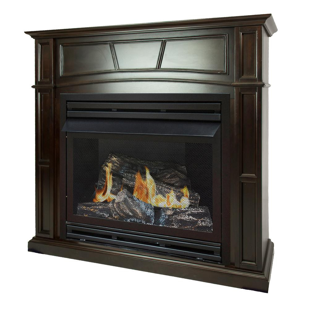 Best ideas about Home Depot Gas Fireplace . Save or Pin Pleasant Hearth 46 in Full Size Ventless Propane Gas Now.