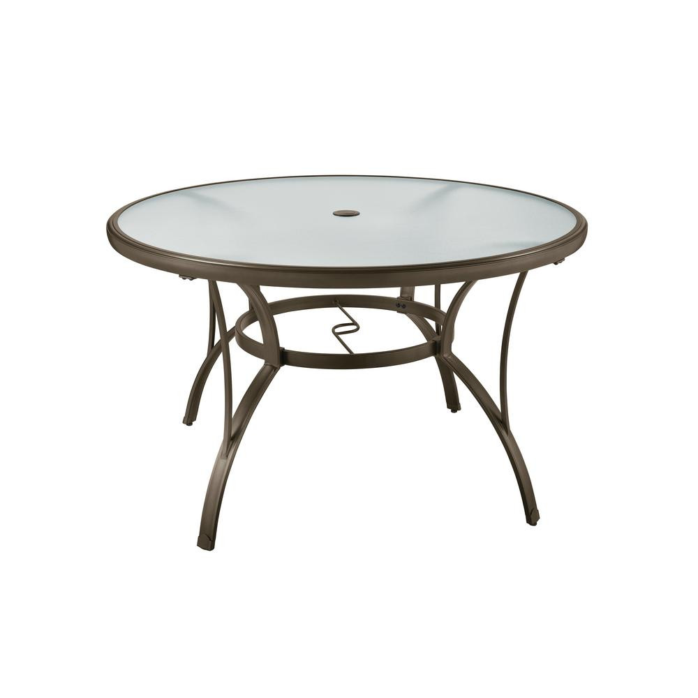 Best ideas about Home Depot Patio Table . Save or Pin Hampton Bay mercial Grade Aluminum Brown Round Outdoor Now.