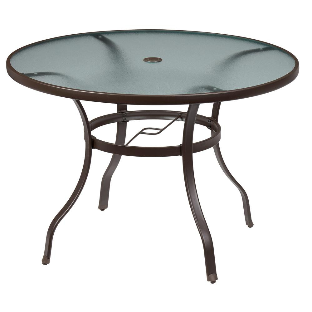 Best ideas about Home Depot Patio Table . Save or Pin Hampton Bay Mix and Match Round Metal Outdoor Dining Table Now.