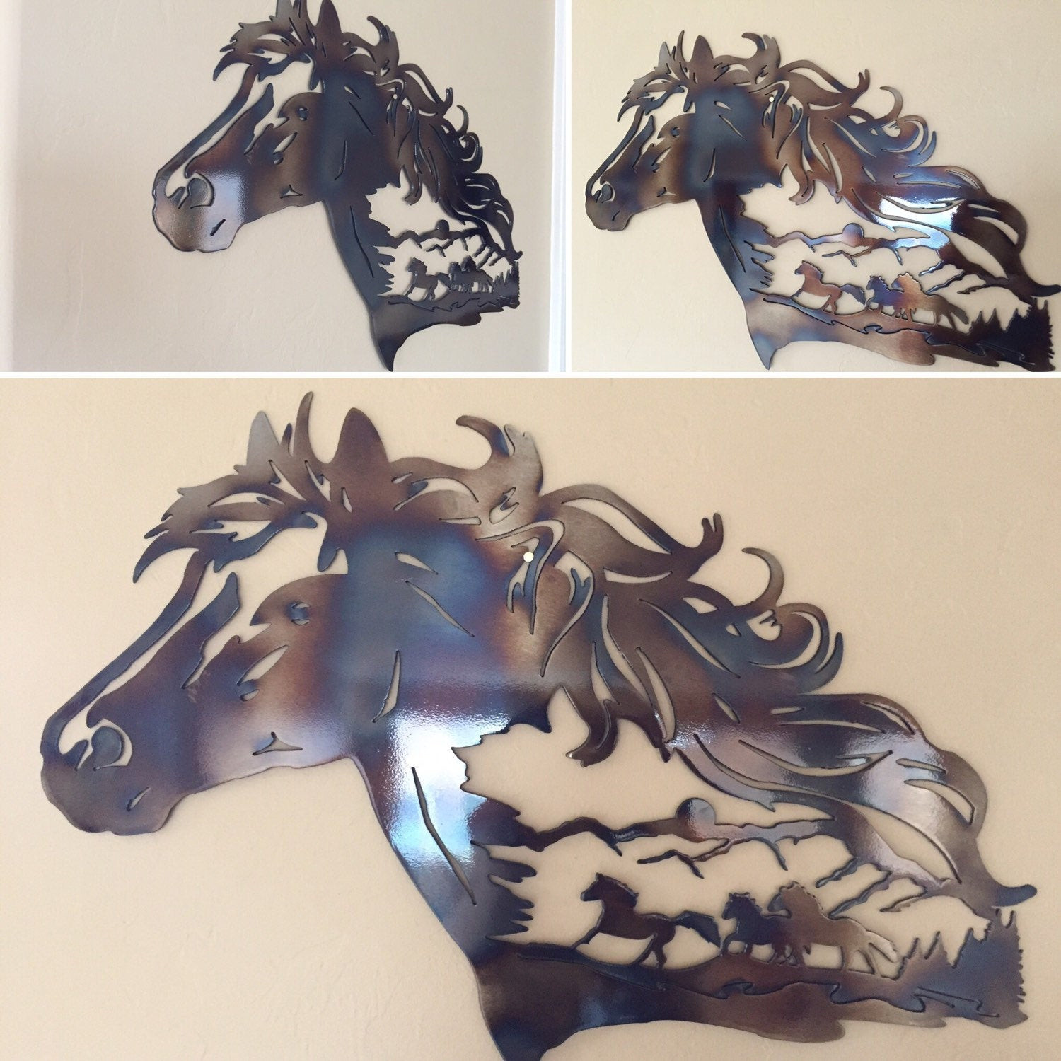 Best ideas about Horse Wall Art . Save or Pin Horse Scene Mountains Metal Wall Art Decor Now.