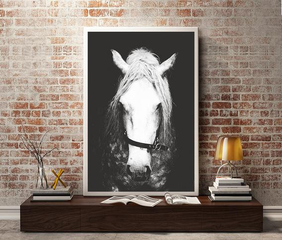 Best ideas about Horse Wall Art . Save or Pin Black & White Horse graphyHorse Wall DecorHorse Wall Now.