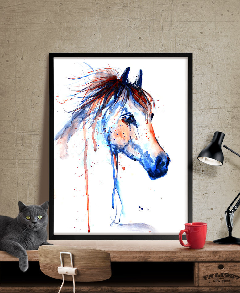 Best ideas about Horse Wall Art . Save or Pin Horse Art Horse Decor Watercolor Horse painting Wall Art Now.