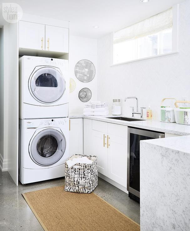 Best ideas about Ikea Laundry Room . Save or Pin White Laundry Room Cabinets with Brushed Brass Octagon Now.