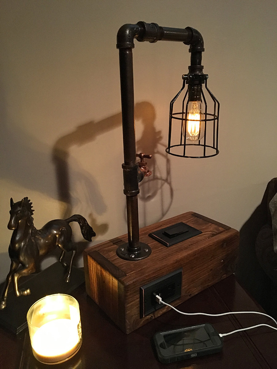 Best ideas about Industrial Desk Lamp . Save or Pin Rustic Industrial Table Lamp w 2 USB Chargers and Outlet Now.
