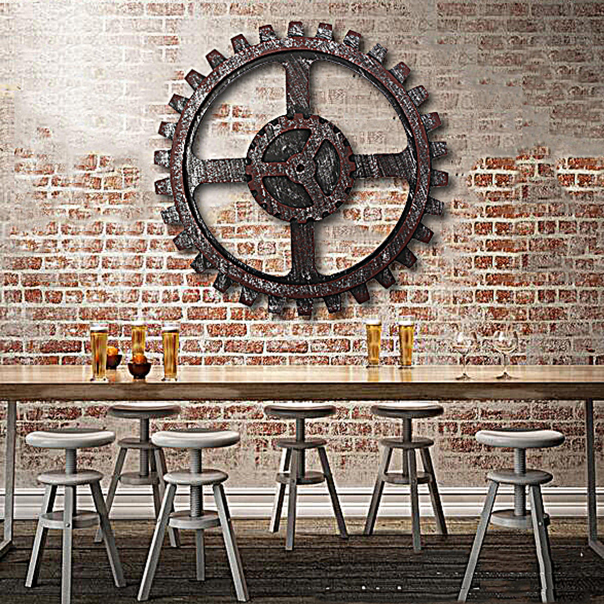 Best ideas about Industrial Wall Art . Save or Pin Industrial Style Wooden Gear Wall Decor Antique Home Bar Now.