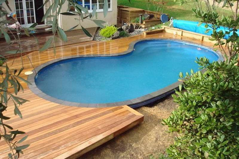 Best ideas about Inground Pool Deck . Save or Pin Semi Inground Pool Landscaping Ideas Now.