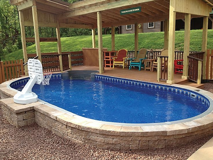 Best ideas about Inground Pool Deck . Save or Pin Semi Inground Pool patio deck design Now.