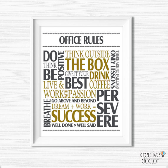 Best ideas about Inspirational Wall Art . Save or Pin fice Wall Art Motivational Wall Decor Inspirational Quote Now.