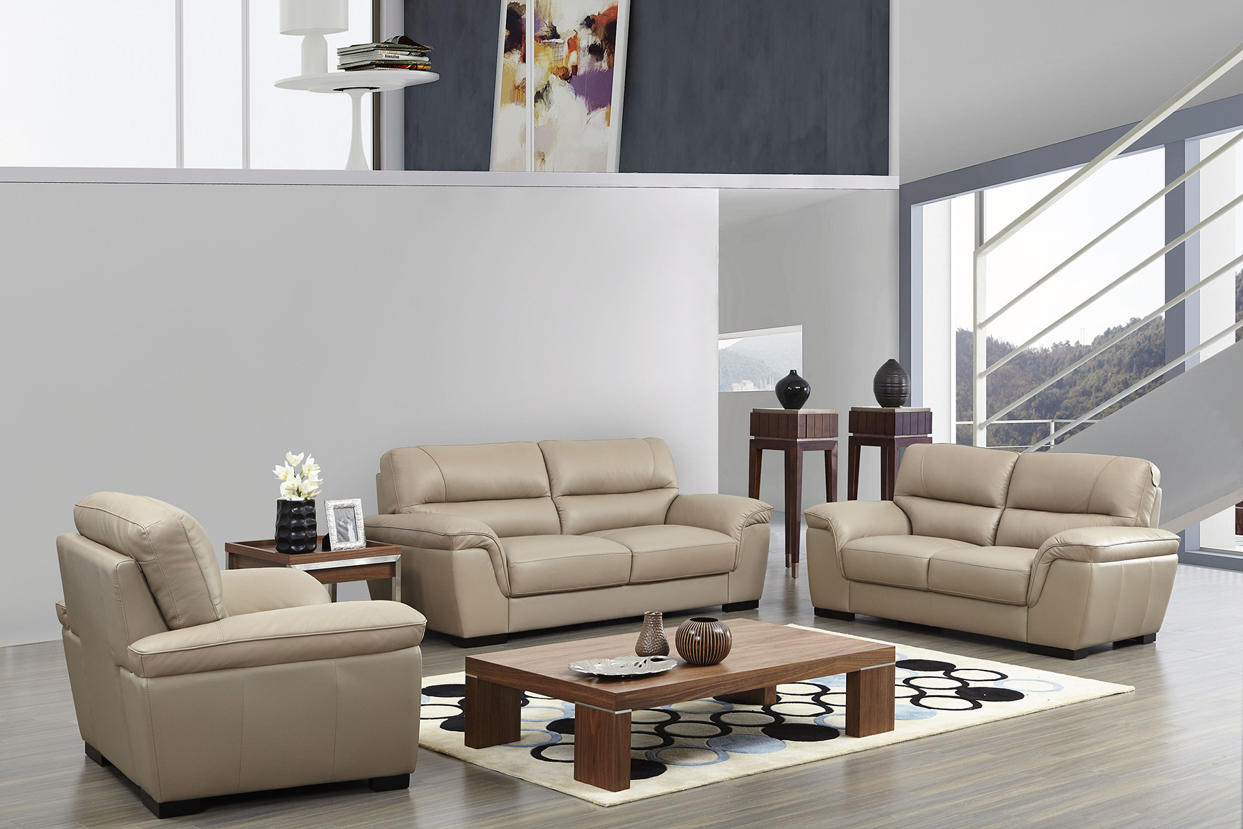 Best ideas about Italian Sofa Set . Save or Pin Contemporary Beige Leather Stylish Sofa Set with Wooden Now.