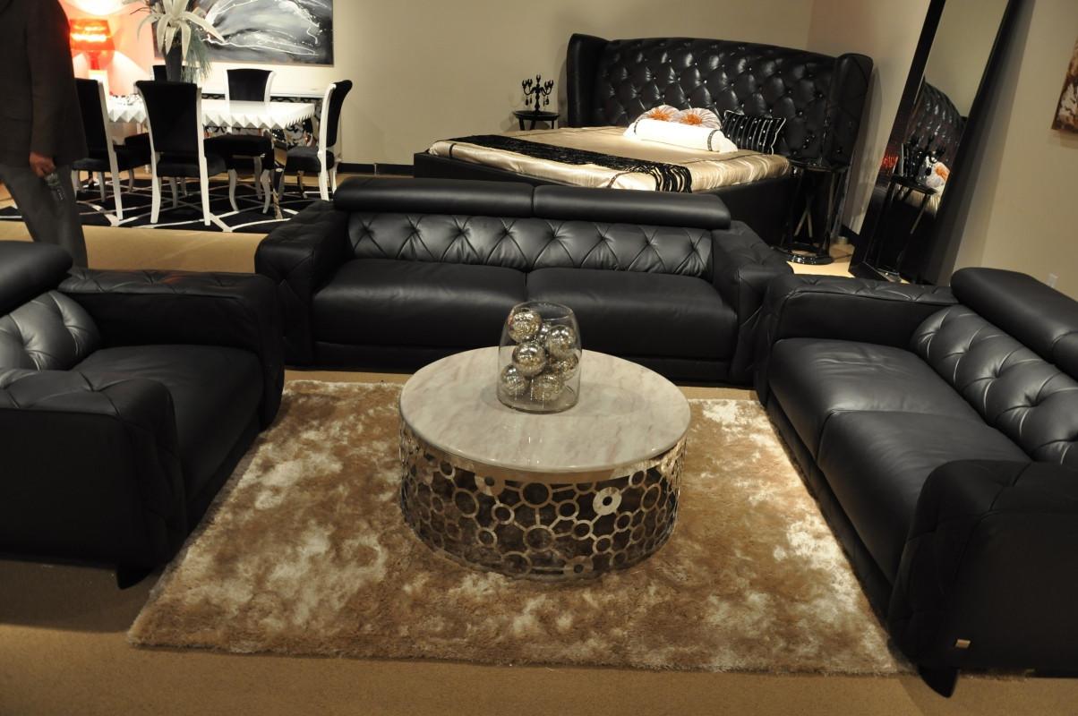 Best ideas about Italian Sofa Set . Save or Pin Nantes Black Italian Leather Tufted Sofa Set Now.